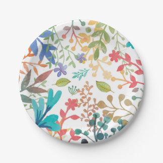 Summer Woodland Watercolor Paper Plates 7 Inch Paper Plate