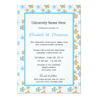 "summer yellow and blue graphic flowers graduation 5"" x 7"" invitation card"