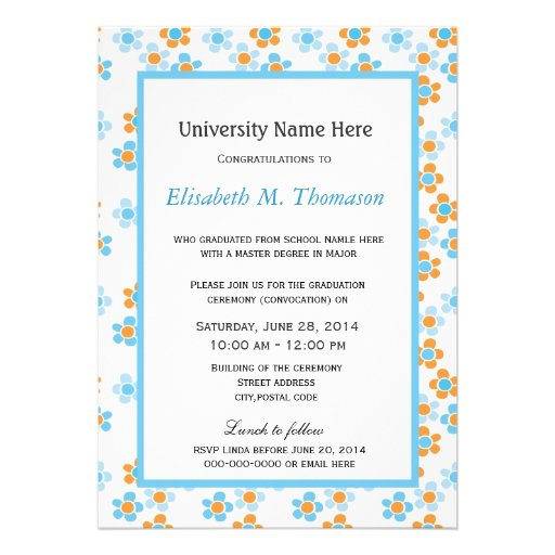 summer yellow and blue graphic flowers graduation invitations