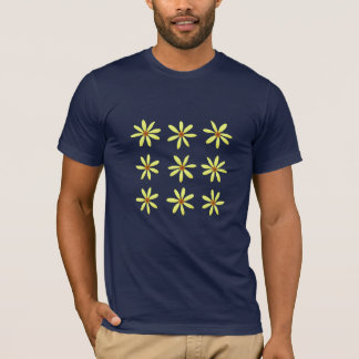 Summer Yellow and Navy Blue Flowers T-Shirt