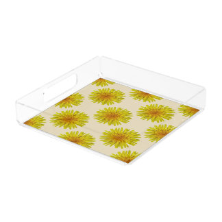 Summer Yellow Dandelion Flower on any Colour Acrylic Tray