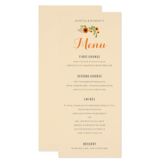 Summer Yellow Flowers Garden Floral Wedding Menu Card