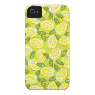 Summer Yellow Lemon Slices and leaves on yellow iPhone 4 Case