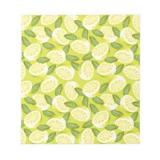 Summer Yellow Lemon Slices and leaves on yellow Notepad