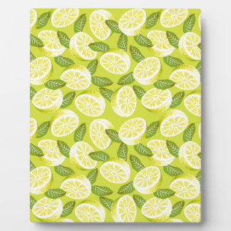Summer Yellow Lemon Slices and leaves on yellow Plaque