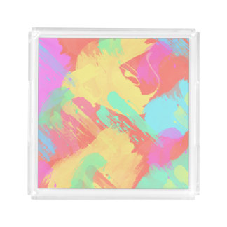 summer yellow orange mint pink coral brushstrokes acrylic tray