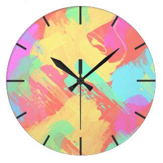 Summer yellow orange mint pink coral brushstrokes large clock