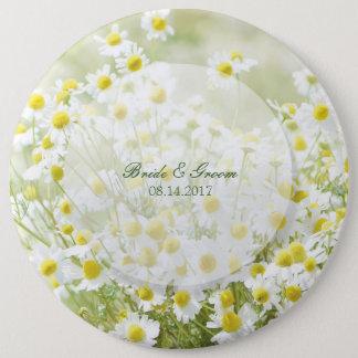Summerfield Daisies Camomile Flower Floral Wedding 6 Inch Round Button
