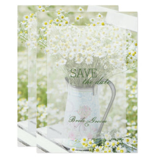 Summerfield Daisies Camomile Flower SAVE the Date Card