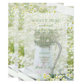 Summerfield Daisies Camomile Flower Wedding Menu Card