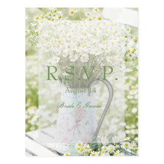 Summerfield Daisies Camomile Flower Wedding RSVP Postcard