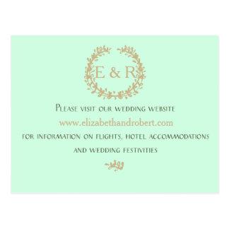 SummerMint Pale Green Mint Wreath & Sprig Wedding Postcard