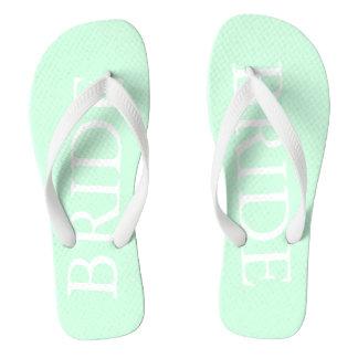 Summermint Pastel Green Mint Wedding Flip Flops