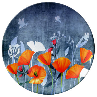 Summernight- Shadow of a Poppy meadow Plate