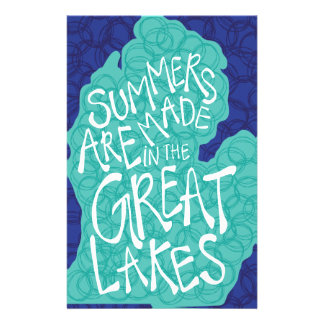 Summers Are Made In The Great Lakes - Blue Stationery