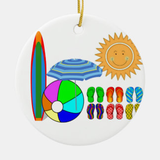 Summertime Beach Party Ceramic Ornament