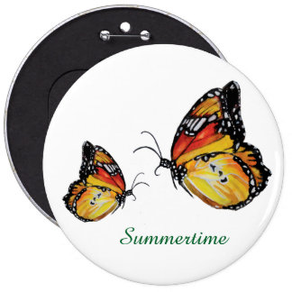 Summertime butterfly drawing Round Badge 6 Inch Round Button
