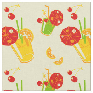 Summertime cocktail lemon cherry fabric