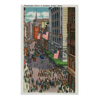 Summertime Crowds on Washington Street Poster
