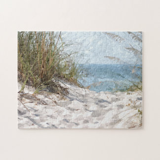 Summertime Dunes Beach Ocean Watercolor Painting Puzzles