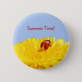 Summertime Ladybug On Yellow Flower 2 Inch Round Button