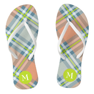 summertime monogram peach lime blue plaid flip flops
