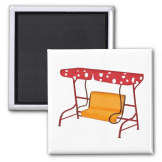 Summertime Patio Glider Seating Square Magnet