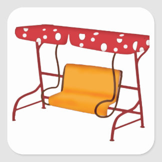 Summertime Patio Glider Seating Square Sticker