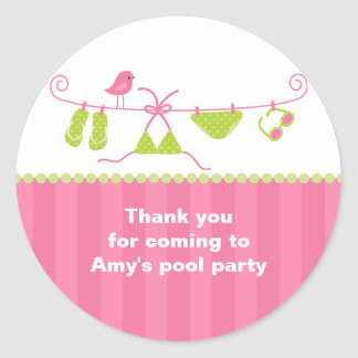 Summertime Pink and Green Bathing Suit Stickers