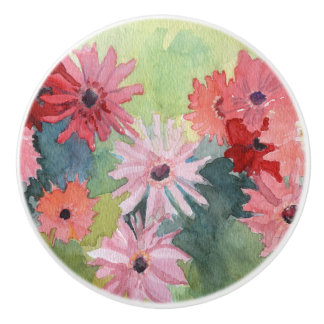 Summertime Pink and Green Ceramic Knob