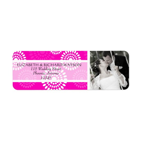 Summertime pink flower Wedding Address Label