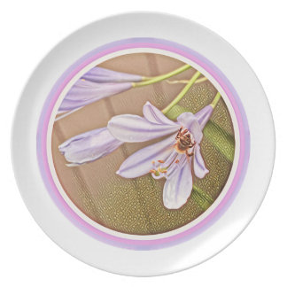 Summertime purple agapanthus and bee plate