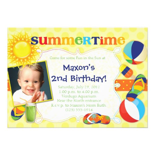 SUMMERTIME - Summer-Themed Party Invitations BOY