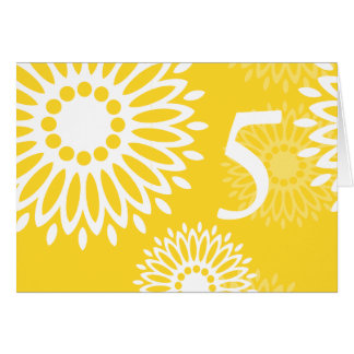 Summertime yellow flowers Table Number Card