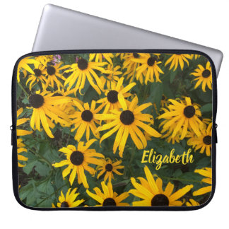 Summery Brown Eyed Susans and Your Name Laptop Sleeve
