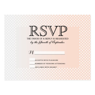 Summery Coral Peach to Grey Gradient Polka Dots Postcard