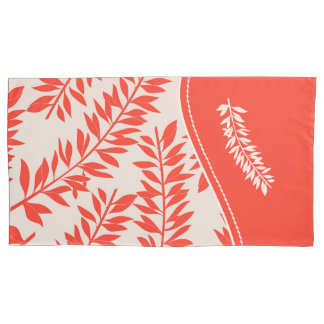 Summery Coral Salmon with White Leafy Stems Pillowcase