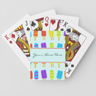 Summery Fun Ice Lolly Pattern with Name Playing Cards