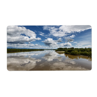 Summery landscape: clouds reflection in river