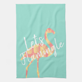 Summery Let's Flamingle Pineapples Flamingo Kitchen Towel
