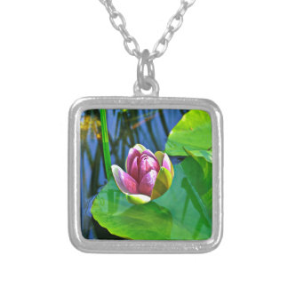 Summery ode ton the Water Lily Silver Plated Necklace