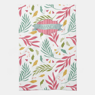 Summery Scattered Leaf Pattern ID387 Kitchen Towel