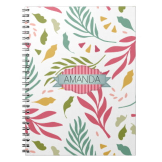 Summery Scattered Leaf Pattern ID387 Notebook