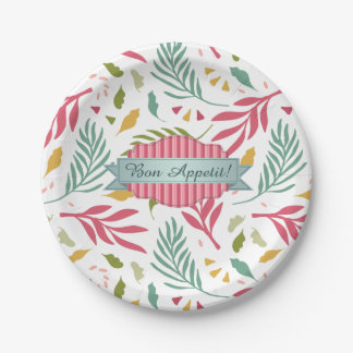 Summery Scattered Leaf Pattern ID387 Paper Plate