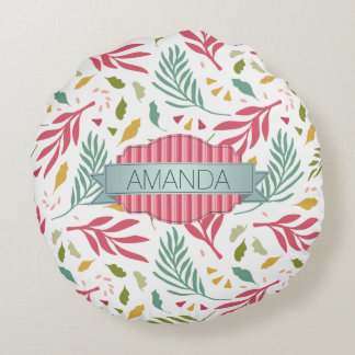 Summery Scattered Leaf Pattern ID387 Round Pillow