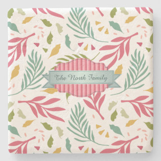 Summery Scattered Leaf Pattern ID387 Stone Coaster