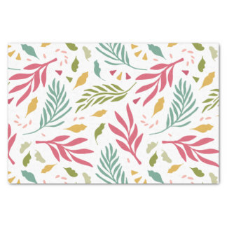 Summery Scattered Leaf Pattern ID387 Tissue Paper