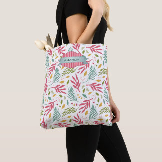 Summery Scattered Leaf Pattern ID387 Tote Bag