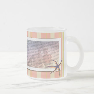 Summery stripes frosted glass coffee mug