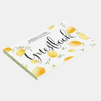 Summery Watercolor Lemon Wedding Guest Book